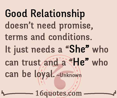 Good relationship doesn't need promise