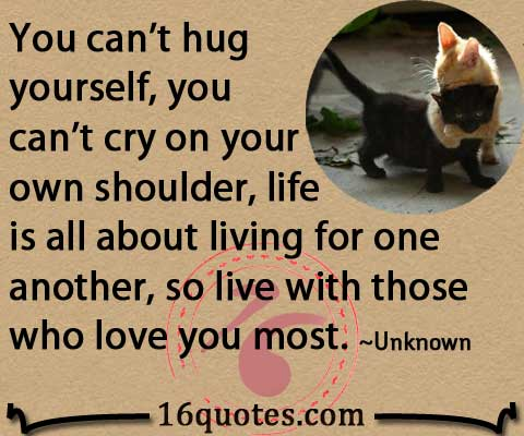 You can't hug yourself quote