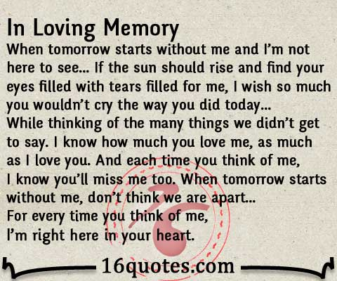 In Loving Memory Quote