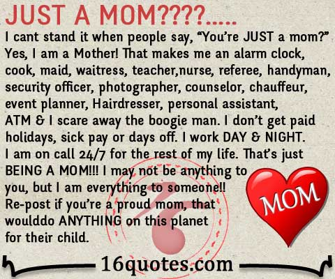 JUST A MOM New Mother Quotes Com