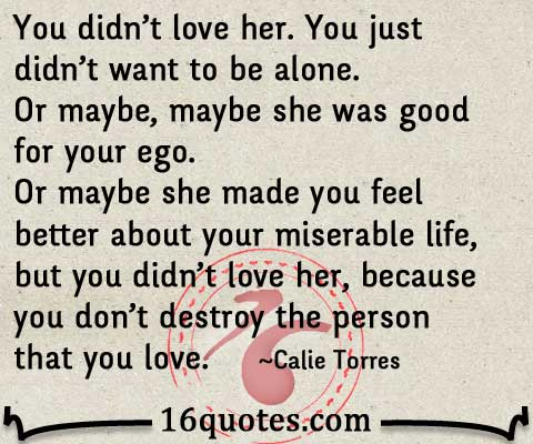You Didn T Love Her Quotes Mesmerizing Because You Don't Destroy The Person That You Love