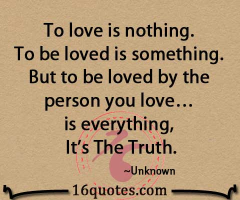 Quotes About Love Is Love : To love is nothing. To be loved is something. But to be loved by the ...